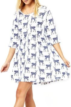 abaday Sika Deers Print Cropped Sleeves White Dress - Fashion Clothing, Latest Street Fashion At Abaday.com