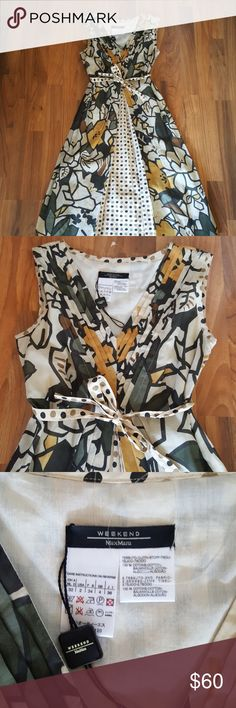 MAX MARA WEEKEND DRESS NWT.. NEVER WORN . ADORABLE COTTON LINED DRESS. FUN PRINT , GREAT FOR GOING OUT OR THROW A CARDIGAN ON AND WEAR TO WORK. MAX MARA  Dresses Midi