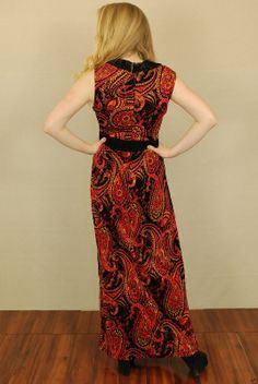Vtg 70s Burnout Paisley Velour Halter Hippie Festival Party Maxi Dress M | eBay