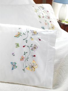 Bucilla 45076 Stamped Embroidery Kit, by Pillowcase Pair, Butterflies in Flight Vintage Embroidery, Ribbon Embroidery, Embroidery Stitches, Embroidery Patterns, Machine Embroidery, Baby Sheets, Bordados E Cia, Embroidered Pillowcases, Embroidered Towels