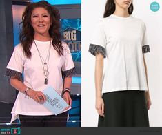 Julie's white asymmetric fringe sleeve top on Big Brother Cutout Dress, Lace Dress, Big Brother Style, Julie Chen, Scalloped Dress, Bow Blouse, Asymmetrical Tops, Sonia Rykiel, Fashion Outfits