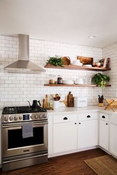 New Darlings - Before and After Tudor Kitchen Remodel - Minimal Modern Far. New Darlings - Before and After Tudor Kitchen Remodel - Minimal Modern Farmhouse Tudor Kitchen, Farmhouse Kitchen Cabinets, Modern Farmhouse Kitchens, Home Kitchens, Kitchen Backsplash, Backsplash Design, Rustic Farmhouse, Backsplash Ideas, Kitchen Shelves