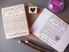 Save the Date Rubber Stamp Set - DIY Calendar Stamp with Heart over your date - Personalize with Names - Wedding Rubber Stamp