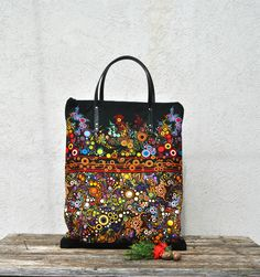 Canvas #handtote #bag, #large #zipper #tote handbag, #Colorful #vegan leather handles #unique bag with pockets ideal gift for woman and christmas by KatiaFabricStudio on Etsy