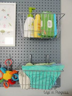 Looking for baby boy nursery decor ideas? Here's how we decorated our baby Cian's nursery, with neutral colors and pops of bright blue. Pegboard Nursery, Pegboard Craft Room, Pegboard Display, Pegboard Organization, Nursery Organization, Kitchen Pegboard, Nursery Storage, Office Organization, Babies Rooms