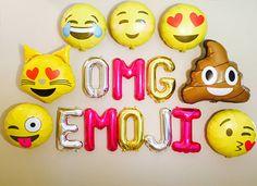 EMOJI Emoji Birthday Banner OMG Theme Party Balloons
