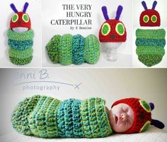 Very Hungry Caterpillar crochet baby cocoon Cute Crochet, Crochet For Kids, Crochet Crafts, Knit Crochet, Crochet Baby Cocoon, Baby Cacoon Crochet Pattern, Crochet Outfits For Babies, Crotchet Baby Hats, Crochet Baby Stuff