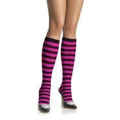 Complemente seu #visual com estas meias altas, elegantes com listas preto e rosa.Prove que é uma mulher #elegante e #moderna!  http://goo.pt/EWU LOJA Online >> http://www.funshop.pt