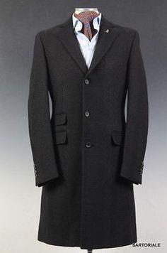 JOHN RICHMOND Collection Black Herringbone Wool Coat EU 48 NEW US 36 38
