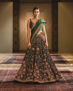 (C) Tarun Tahiliani | Green lehenga with intricate embroidery for 2020 brides | Emerald green lehenga | Trending new designer outfits | Bridal Look inspiration | Trending now | Sangeet outfit ideas | #wittyvows #green #lehenga #bridetobe #bridal #bridaloutfit #indianwedding #indianbride #happiness #weddingdress #trending #beautiful Sangeet Outfit, Mehendi Outfits, Pakistani Outfits, Blue Lehenga, Lehenga Saree, Bridal Lehenga, Indian Lehenga, Saree Blouse, Sarees