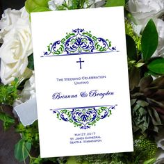 """Catholic Wedding Program """"Grace"""" Navy Blue & Green 