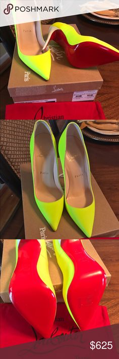 Christian Louboutin Neon yellow size 35 original price is based on what I actually paid after taxes. Christian Louboutin Shoes Heels