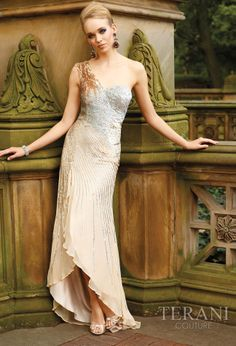 2012 Terani Couture Gold and Silver Prom Gown 629