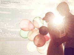 balloons, couple, cute, sun