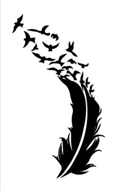 feather and birds svg dxf file instant download silhouette