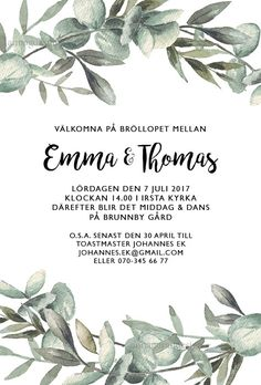 Grönlik kant Wedding Templates, Wedding Invitation Templates, Invitation Design, Wedding Stationery, Wedding Invitations, Wedding Bells, Wedding Cards, Diy Wedding, Dream Wedding