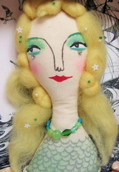 Mermaid Dolls, Some Image, Doll Face, My Images, Mermaids, Dinosaur Stuffed Animal, Collage, Felt, Faces