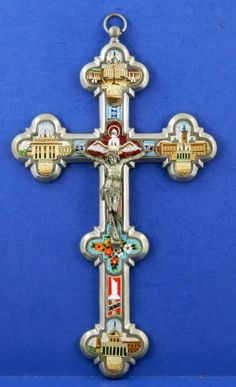 Micro Mosaic Crucifix Large Roma Tour of Rome Buildings Dove Flowers