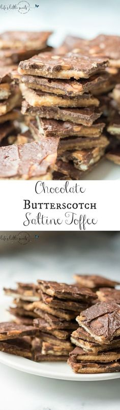 Chocolate Butterscotch Saltine Toffee combines semi sweet chocolate and butterscotch morsels with a classic, easy candy recipe: saltine toffee. Enjoy this butter-y, crisp and sweetly-addictive version of saltine toffee! #saltines #toffee #saltinetoffee #butterscotch #candy #recipe #homemade
