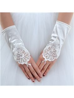 Pretty Short Finger-less Satin Wedding Glove with Laciness Applique(21964) Just showing you there are lots of styles, lengths and kinds of gloves, if you still want them.