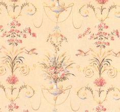 """Wallpaper: Beige Urns with birds  Each sheet of wallpaper measures approximately 10"""" high x 16"""" long We recommend using Yes wallpaper paste to install your dollhouse wallpaper.       Model: IB 513A"""