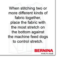 This sewing tip can help when you have different types of fabrics to stitch together, or are working with some fabrics that are more stable than others (like stitching knits with non-knits).