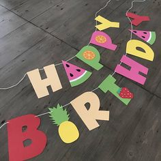 Happy Birthday Banner  Tutti Frutti  Fruit Party Decor
