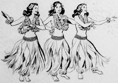 Hula girl clip art for on back jacket of some Hawaiian budget label records. Hawaiian Girls, Hawaiian Art, Vintage Hawaiian, Hula Girl Tattoos, Tiki Art, Tiki Tiki, Hawaii Tattoos, Barbie Drawing, Vintage Travel Posters