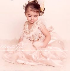 Champagne Princess Puff Flower Girls Dress