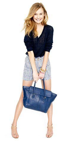 Blues : navy top , blue bag, patterned shorts, and bangles
