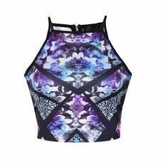 Ally Fashion Reflective geo floral print crop top ($15) ❤ liked on Polyvore featuring tops, print, flower print crop top, floral crop top, cut-out crop tops, high neck crop top and floral print crop top