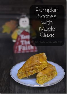 Pumpkin Scones with Maple Glaze --They are lightly sweet, and brushed with a simple maple glaze. Perfect for breakfast, dessert or an afternoon snack!