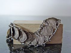 Vintage Silver Gypsy Coin Bracelet by FourSailAccessories on Etsy, $59.00