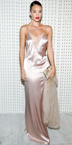 Rosie Huntington-Whiteley proved the slip dress's glamorous power by opting for a tonal approach