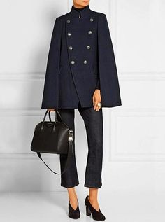 2019 New winter in Europe cape coat and women woollen blends winter warm jackets and coats Price history. Victoria Beckham Jeans, Winter Poncho, Cape Designs, Casual Blazer Women, Casual Outfits, Navy Coat, Warm Dresses, Military Fashion, Military Style