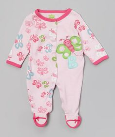 Look what I found on #zulily! Pink Butterfly Footie - Infant #zulilyfinds
