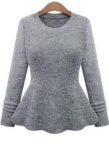 Grey Long Sleeve Flouncing Knit Sweater