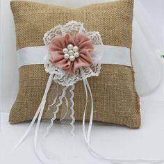"Chic Burlap Jute Twine Bowknot Rustic Wedding Ring Bearer Pillow Cushion 6/"""