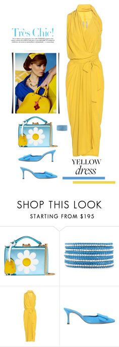 """Yellow Dress"" by terry-tlc ❤ liked on Polyvore featuring Mark Cross, Chan Luu, Rick Owens, Manolo Blahnik and Retrò"