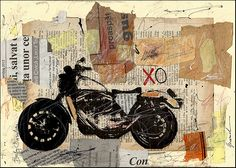 Mixed Media Collage Art  Harley Davidson Bike - SIGNED  Print  Gallery M.E Ologeanu Limited edition  8x11. $6.91, via Etsy.