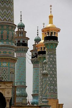 Fatima shrine minarets in Qom, Iran It's a beautiful world. Inspiration for The Gone Art Et Architecture, Islamic Architecture, Beautiful Architecture, Beautiful Buildings, Architecture Details, Morrocan Architecture, Beautiful World, Beautiful Places, Amazing Places