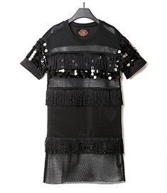 Flowertree Womens Tired Mesh Tassel Beaded Short Sleeves Mini Dress M Black -- Read more reviews of the product by visiting the link on the image.