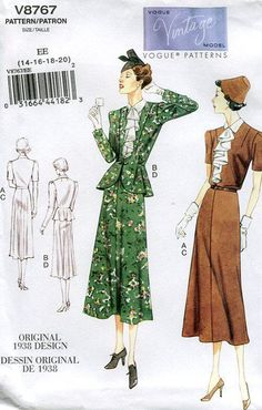 Vogue 8767 Retro 1930's 1938 Suit Jacket Skirt 2011 Reproduction Old Store Stock Uncut by LanetzLivingPatterns on Etsy