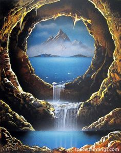 """""""Crater Cave"""" You will receive an original recreation of this painting. Your painting will be created within 5 days of your order and you will be emailed a photo of your painting to approve before it"""
