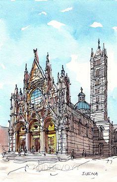 Siena Duomo Italy 12 x 8 art print from original by AndreVoyy, $20.00