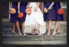 East Nashville Wedding with a Perfect Purple Palette Orange Purple Wedding, Orange And Purple, Peach Orange, Orange Flowers, Dark Purple, Brides And Bridesmaids, Bridesmaid Dresses, Orange Bridesmaids, Jade
