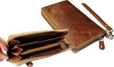 100% Leren Portemonnee met extra vakjes en ruimte voor de mobiel o.a. Iphone 6 . Kleur Cognac . Art. 1117