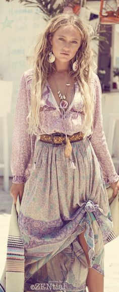 cool Free spirit boho chic dress with modern hippie leather belt. For the BEST Bohemi...
