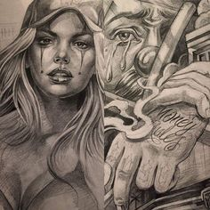 Lettrage Chicano, Chicano Art Tattoos, Chicano Drawings, Chicano Lettering, Gangster Tattoos, Tattoos Skull, Tattoo Drawings, Art Drawings, Chicanas Tattoo