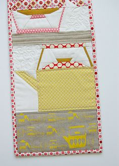 """Vintage Collection"" table runner with paper pieced teapots by During Quiet Time (Amy), via Flickr"